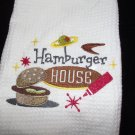 Embroidered Retro Hamburgers House Dish Kitchen Towel