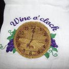 Wine O'Clock Dish Kitchen Towel Embroidery