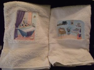 Set of His Hers French Style Bathroom Guest Towels