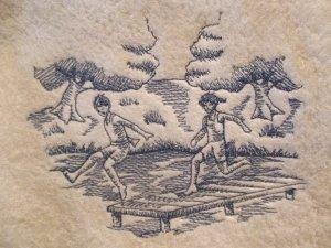 Set of Embroidered Bath Towels Beach Toile Scene