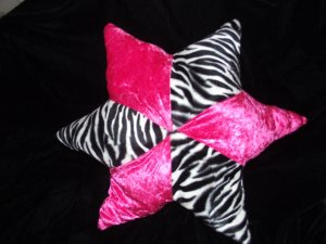 Zebra Print Hot Pink 5 Point Star Decorative Pillow