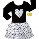 Black and White Dot Ruffle Dress Long Sleeve 3-6 month