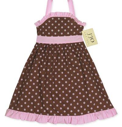 Chocolate and Pink Polka Dot Halter Dress- 3-6 month