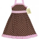 Chocolate and Pink Polka Dot Halter Dress- 3-6 month