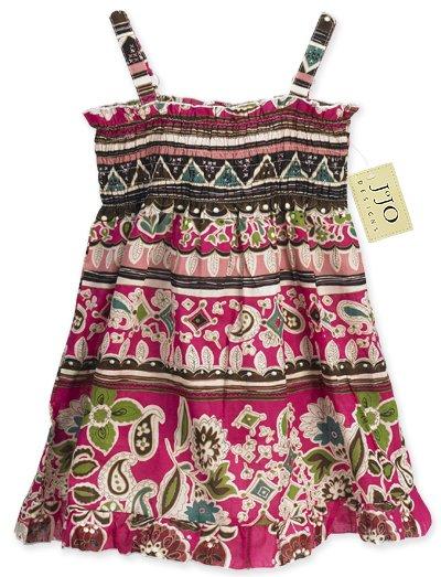 Hot Pink Patterned Smocked Dress- 3-6 months