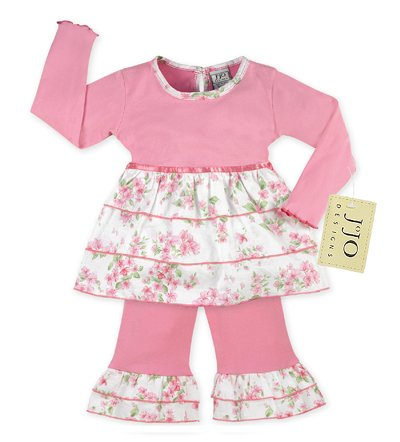 Light Pink Floral Rumba Outfit- 3-6 months
