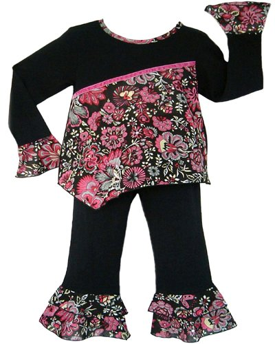 Black and Hot Pink Floral Outfit- 3-6 months