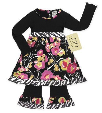 Black Zebra Print Floral Outfit/Dress 3-6 month