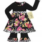 Black Zebra Print Floral Outfit/Dress 3-6 month