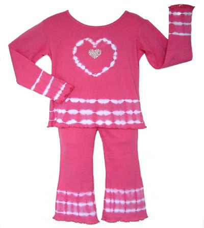 Pink and White Tie Dye Heart Outfit- 3-6 months