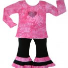 Pink and Black Tie Dye Outfit Long Sleeve- 3-6 months