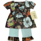 Light Blue and Chocolate Smocked Capri Outfit Short Sleeve 3-6 months