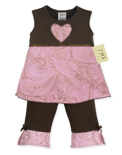 Pink and Brown Paisley Outfit Short Sleeve 3-6 months