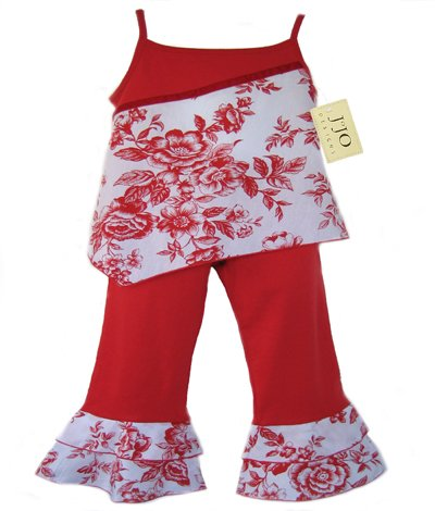 Red and White Floral Outfit 3-6 months