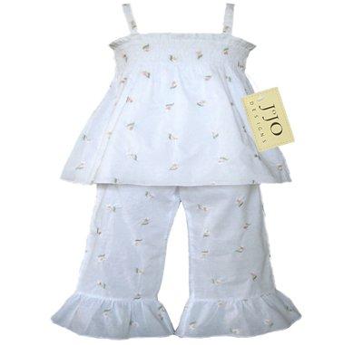White Smocked Capri Outfit 3-6