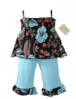 Light Blue and Chocolate Smocked Capri Outfit- 3-6 months