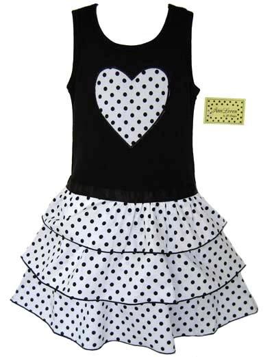 Black and White Dot Ruffle Dress 6-12
