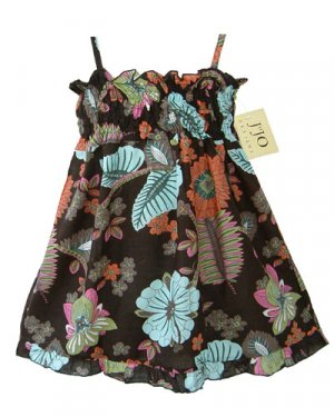 Light Blue and Chocolate Smocked Dress 6-12