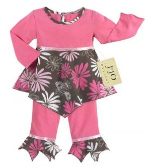 Pink and Brown Flower Outfit 6-12
