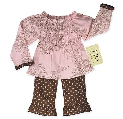 Chocolate and Pink French Toile Outfit Long Sleeve 6-12
