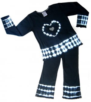 Black and White Tie Dye Heart Outfit 6-12