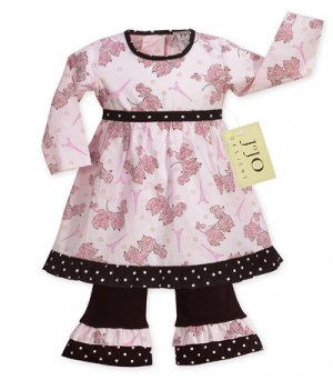 Pink and Black Poodle Outfit/Dress 6-12
