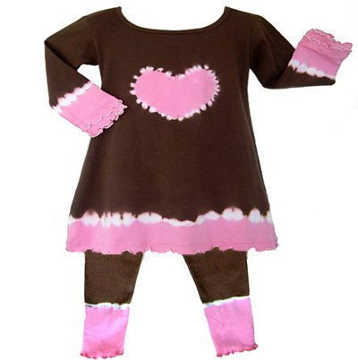 Pink and Brown Tie Dye Heart Outfit/Dress Long Sleeve 6-12