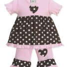 Pink and Brown Polka Dot Heart Outfit 6-12