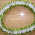 Hawaiian lei Christina orchid crochet w/ white eyelash center and contrasting green edges