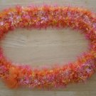 Hawaiian lei Christina orchid crochet w/ pink orange yellow eyelash yarn