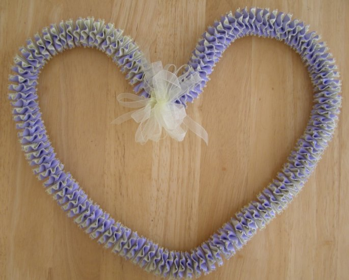 Hawaiian lei w/ lavender purple yellow satin picot ribbon