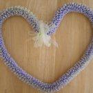 Hawaiian lei w/ lavender purple yellow satin ribbon