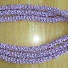 Hawaiian crochet lei 3-strand crown flower w/ lavender purple satin rattail cord