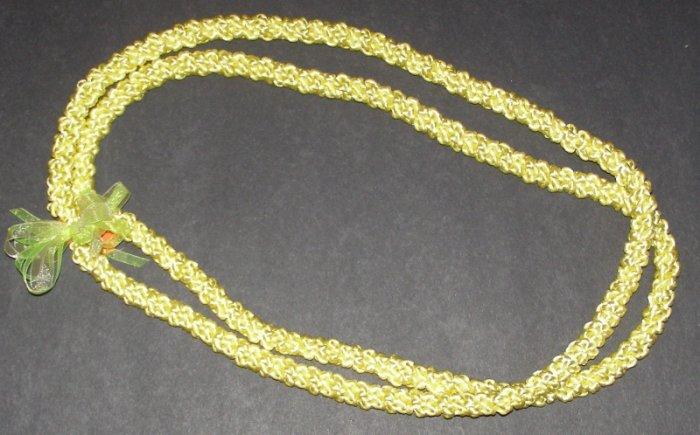 Hawaiian crochet lei 2-strand w/ yellow satin rattail cord