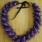 Hawaiian lei crochet w/ multi-color purple eyelash yarn satin ribbon rosette