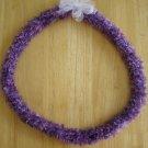 Hawaiian crochet lei w/ purple eyelash yarn