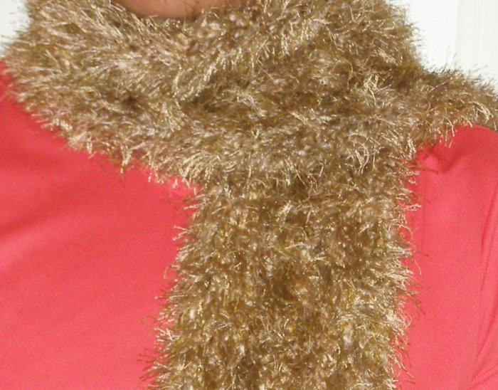 NEW handmade women's crochet scarf tan Fun Fur