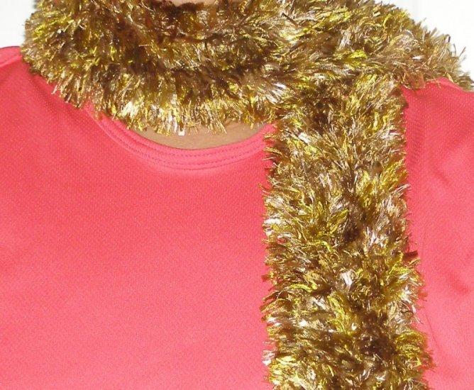 handmade women's crochet scarf soft brown Fun Fur