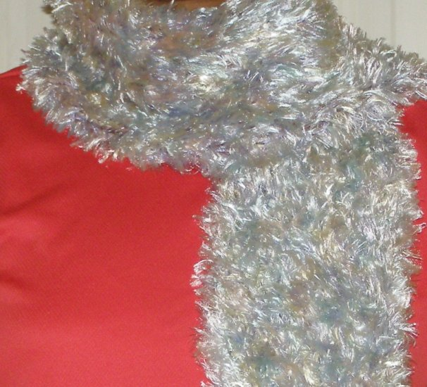 handmade women's crochet scarf soft pastel Fun Fur