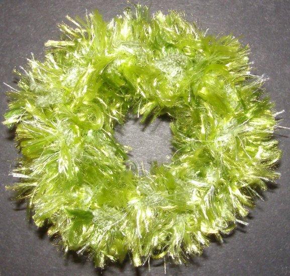 scrunchie hair tie Fun Fur Eyelash yarn crochet lime green