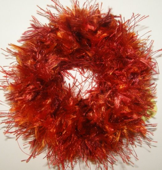 scrunchie hair tie Fun Fur Eyelash yarn crochet red