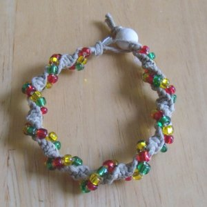 macrame twist hemp bracelet w/ red, green, yellow glass beads