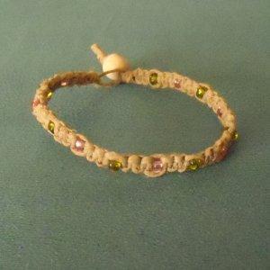 macrame hemp bracelet w/ pink and green glass beads