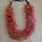 Hawaiian lei knit w/ red orange yellow beige eyelash yarn hat band
