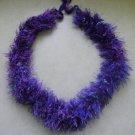 Hawaiian lei crochet w/ purple blue green eyelash yarn ribbon