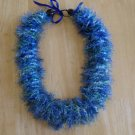 Hawaiian crochet lei w/ blue green eyelash yarn ribbon