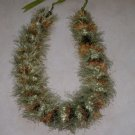 Hawaiian lei crochet w/ green brown eyelash yarn satin ribbon