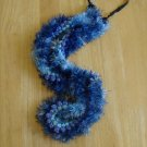 Hawaiian lei crochet w/ multi-color blue eyelash yarn satin ribbon rosette