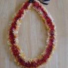 Hawaiian lei Christina orchid crochet w/ red orange yellow eyelash