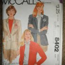 McCall's Sewing Pattern 8402 Misses Size 16 Lined Jacket Uncut